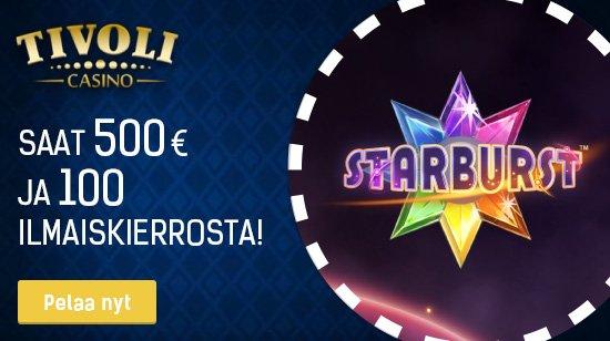 Tivoli casinolta 100% tervetuliaisbonus 500€ sekä 100 ilmaiskierrosta!