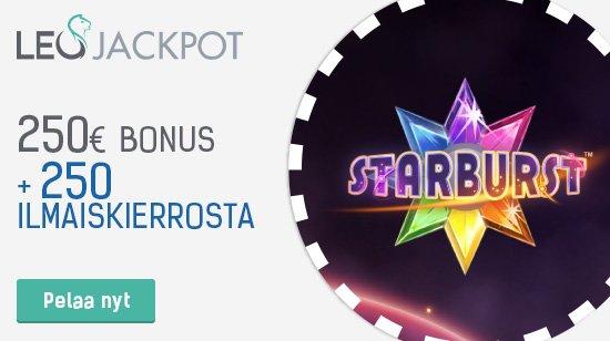 Upea tervetuliaisbonus LeoJackpotilla – 100% Bonus jopa 250€ sekä 250 ilmaiskierrosta!