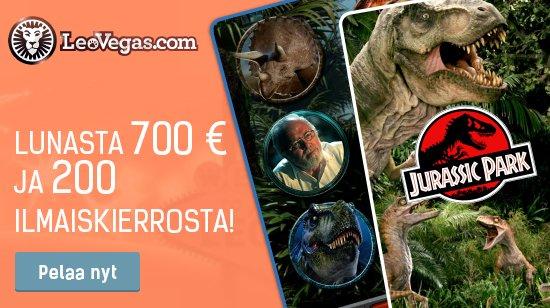 700 €, 200 ilmaiskierrosta ja upouusi Jurassic Park -hedelmäpeli LeoVegasissa
