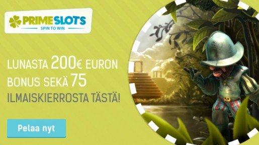 Erikoistarjous PrimeSlotsilta: 200 euron bonus ja 75 ilmaiskierrosta