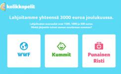 Kolikkopelit.com lahjoittaa joulukuussa 3000 euroa hyväntekeväisyyteen